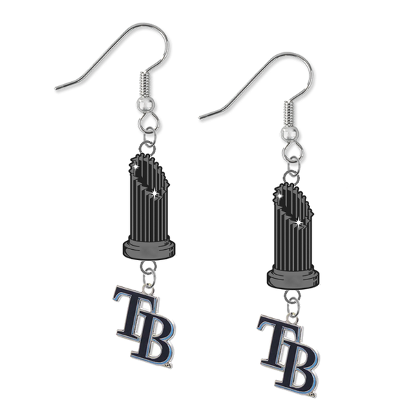 Tampa Bay Rays Style 2 MLB World Series Trophy Dangle Earrings