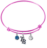 Tampa Bay Rays Style 2 Pink MLB Expandable Wire Bangle Charm Bracelet