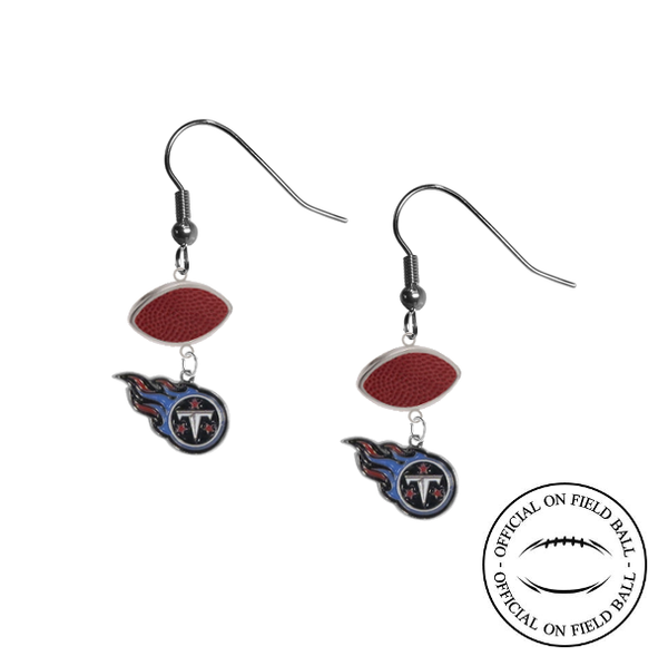 Tennessee Titans NFL Authentic Official On Field Leather Football Dangle Earrings