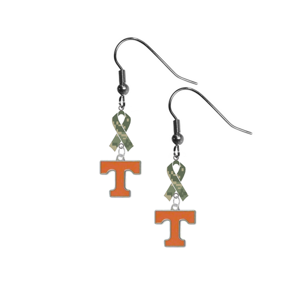 Tennessee Volunteers Salute to Service Camouflage Camo Ribbon Dangle Earrings