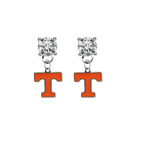 Tennessee Volunteers CLEAR Swarovski Crystal Stud Rhinestone Earrings