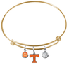 Tennessee Volunteers Vols GOLD Color Edition Expandable Wire Bangle Charm Bracelet