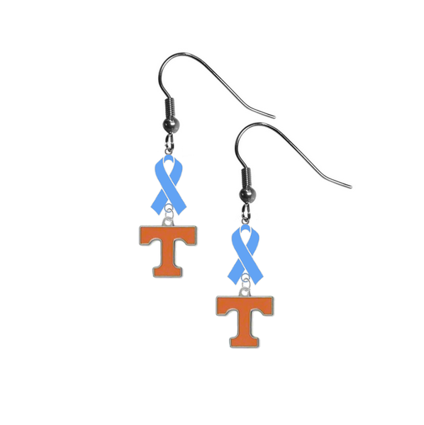 Tennessee Volunteers Prostate Cancer Awareness Light Blue Ribbon Dangle Earrings