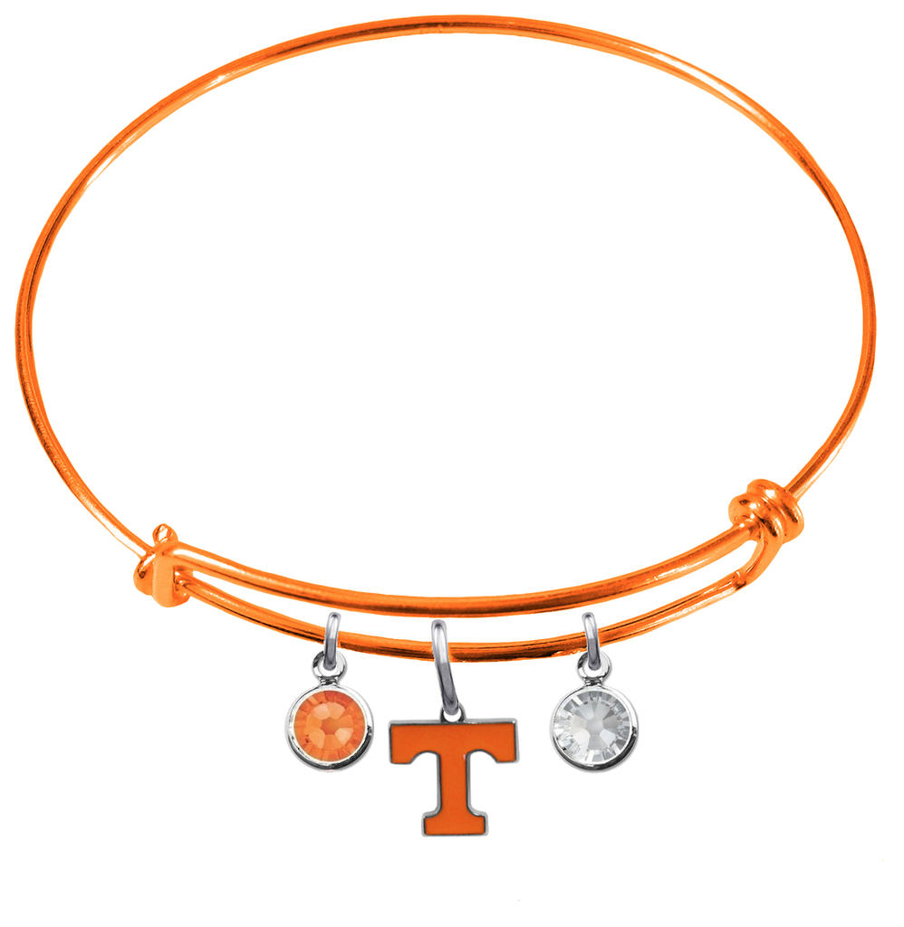 Tennessee Volunteers Vols ORANGE Color Edition Expandable Wire Bangle Charm Bracelet