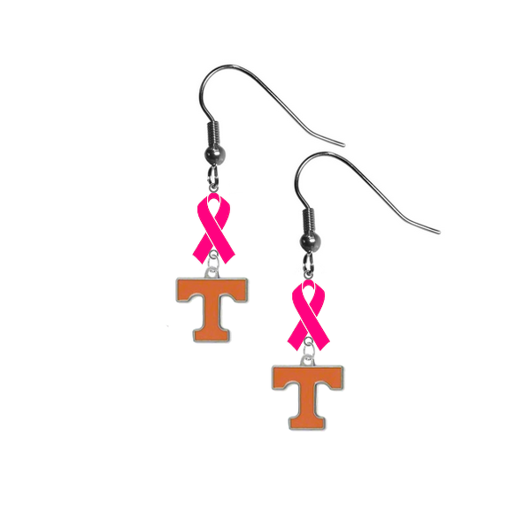 Tennessee Volunteers Breast Cancer Awareness Hot Pink Ribbon Dangle Earrings