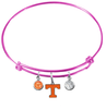 Tennessee Volunteers Vols PINK Color Edition Expandable Wire Bangle Charm Bracelet