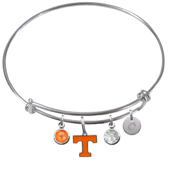 Tennessee Volunteers Football Expandable Wire Bangle Charm Bracelet