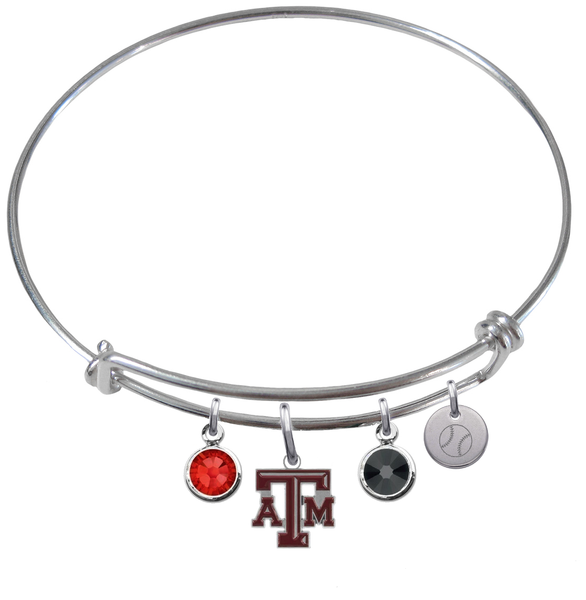 Texas A&M Aggies Baseball Expandable Wire Bangle Charm Bracelet