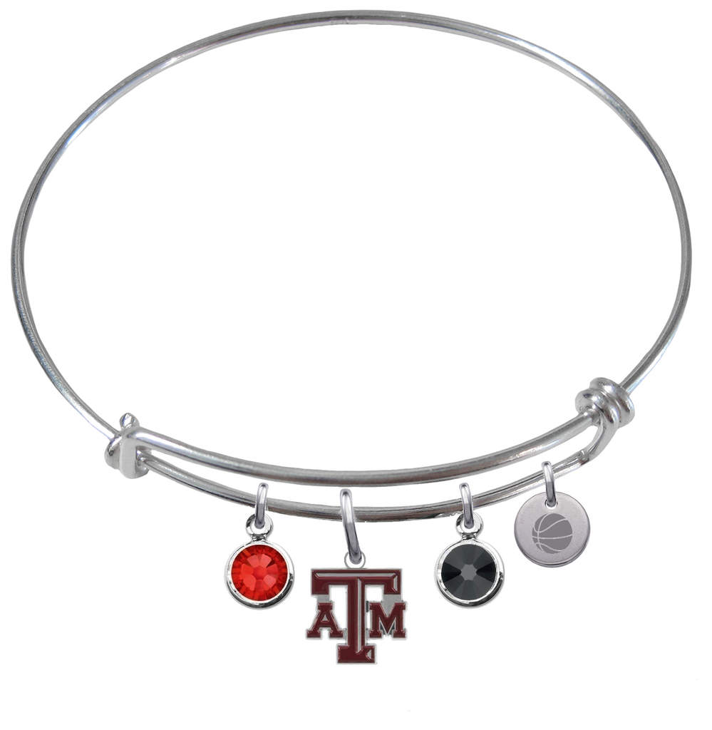 Texas A&M Aggies Basketball Expandable Wire Bangle Charm Bracelet