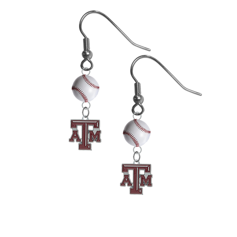 Texas A&M Aggies NCAA Baseball Dangle Earrings