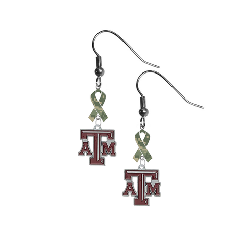 Texas A&M Aggies Salute to Service Camouflage Camo Ribbon Dangle Earrings