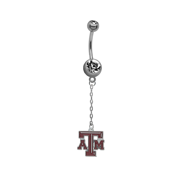 Texas A&M Aggies Dangle Chain Belly Button Navel Ring
