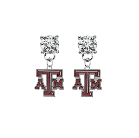 Texas A&M Aggies CLEAR Swarovski Crystal Stud Rhinestone Earrings