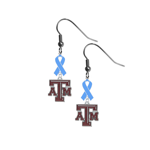 Texas A&M Aggies Prostate Cancer Awareness Light Blue Ribbon Dangle Earrings