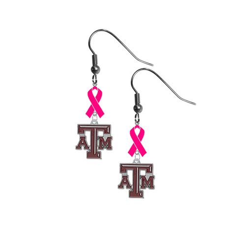 Texas A&M Aggies Breast Cancer Awareness Hot Pink Ribbon Dangle Earrings