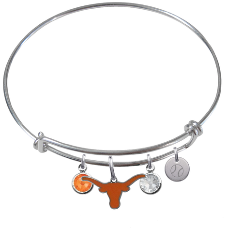 Texas Longhorns Baseball Expandable Wire Bangle Charm Bracelet