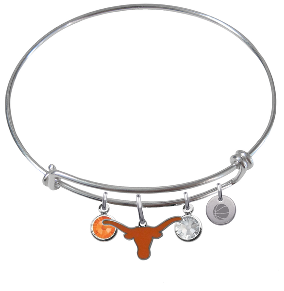 Texas Longhorns Basketball Expandable Wire Bangle Charm Bracelet