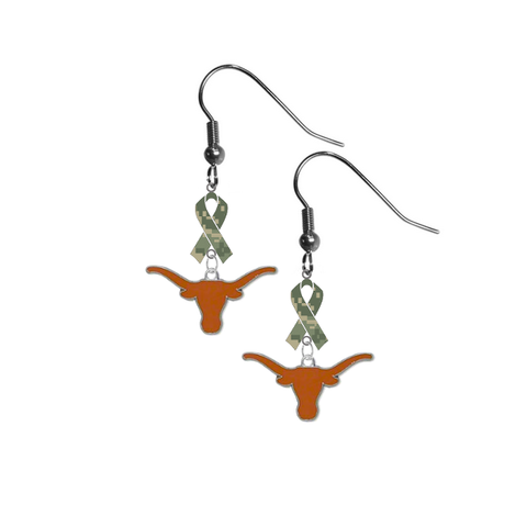 Texas Longhorns Salute to Service Camouflage Camo Ribbon Dangle Earrings