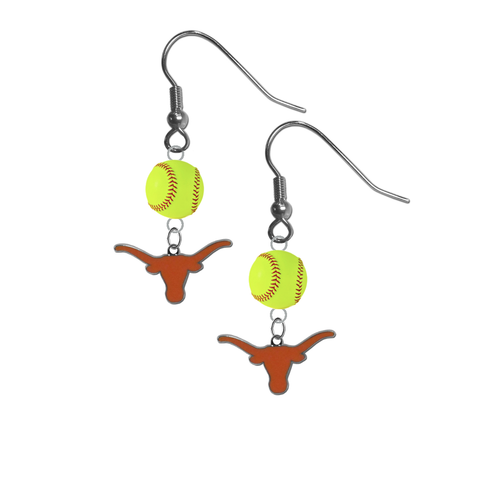 Texas Longhorns NCAA Fastpitch Softball Dangle Earrings