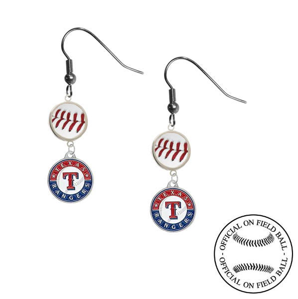 Texas Rangers MLB Authentic Rawlings On Field Leather Baseball Dangle Earrings