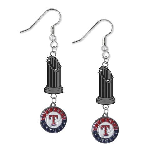 Texas Rangers MLB World Series Trophy Dangle Earrings