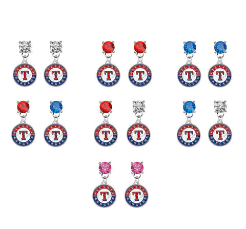 Texas Rangers MLB Swarovski Crystal Stud Rhinestone Earrings