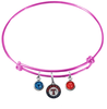 Texas Rangers Pink MLB Expandable Wire Bangle Charm Bracelet