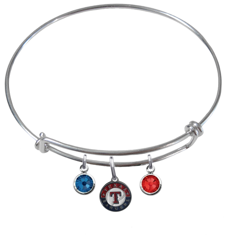 Texas Rangers MLB Expandable Wire Bangle Charm Bracelet
