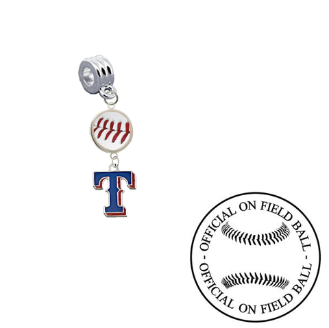 Texas Rangers 2 On Field Baseball Universal European Bracelet Charm (Pandora Compatible)