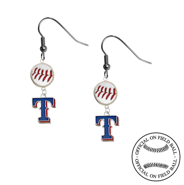Texas Rangers Style 2 MLB Authentic Rawlings On Field Leather Baseball Dangle Earrings