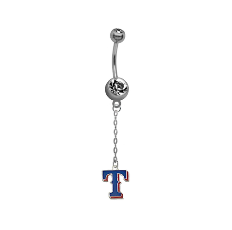 Texas Rangers Style 2 Dangle Chain Belly Button Navel Ring