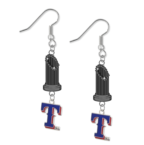 Texas Rangers Style 2 MLB World Series Trophy Dangle Earrings