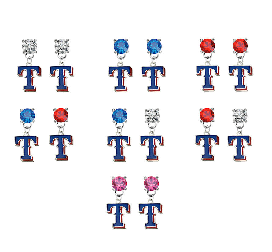 Texas Rangers Style 2 MLB Swarovski Crystal Stud Rhinestone Earrings