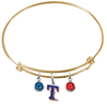 Texas Rangers Style 2 Gold MLB Expandable Wire Bangle Charm Bracelet