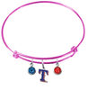 Texas Rangers Style 2 Pink MLB Expandable Wire Bangle Charm Bracelet