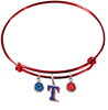 Texas Rangers Style 2 Red MLB Expandable Wire Bangle Charm Bracelet