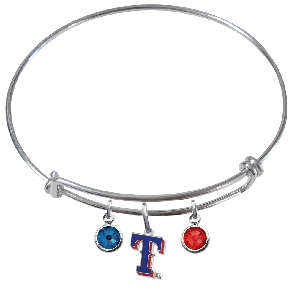 Texas Rangers Style 2 MLB Expandable Wire Bangle Charm Bracelet