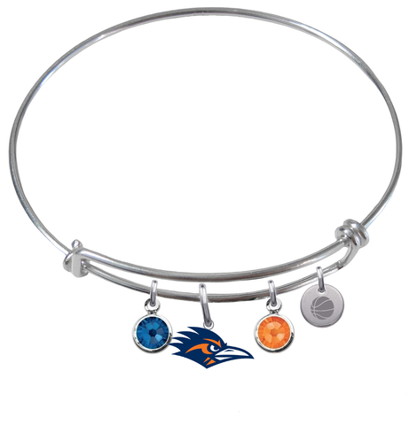 Texas San Antonio Roadrunners Basketball Expandable Wire Bangle Charm Bracelet