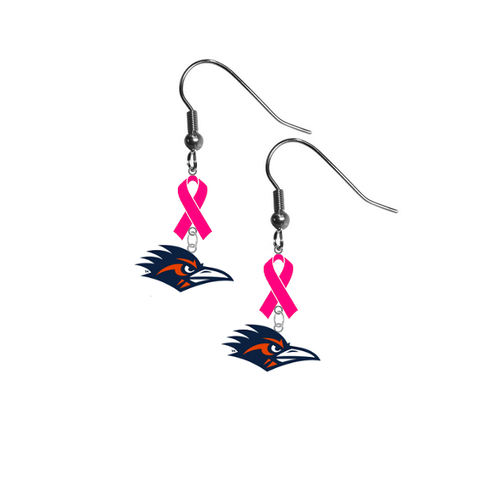 Texas San Antonio Road Runners Breast Cancer Awareness Hot Pink Ribbon Dangle Earrings