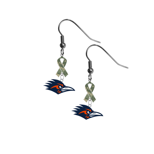 Texas San Antonio Roadrunners Salute to Service Camouflage Camo Ribbon Dangle Earrings