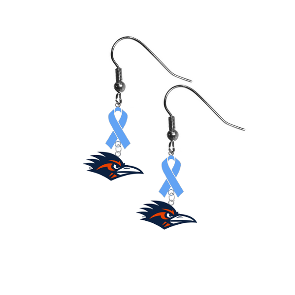 Texas San Antonio Roadrunners Prostate Cancer Awareness Light Blue Ribbon Dangle Earrings