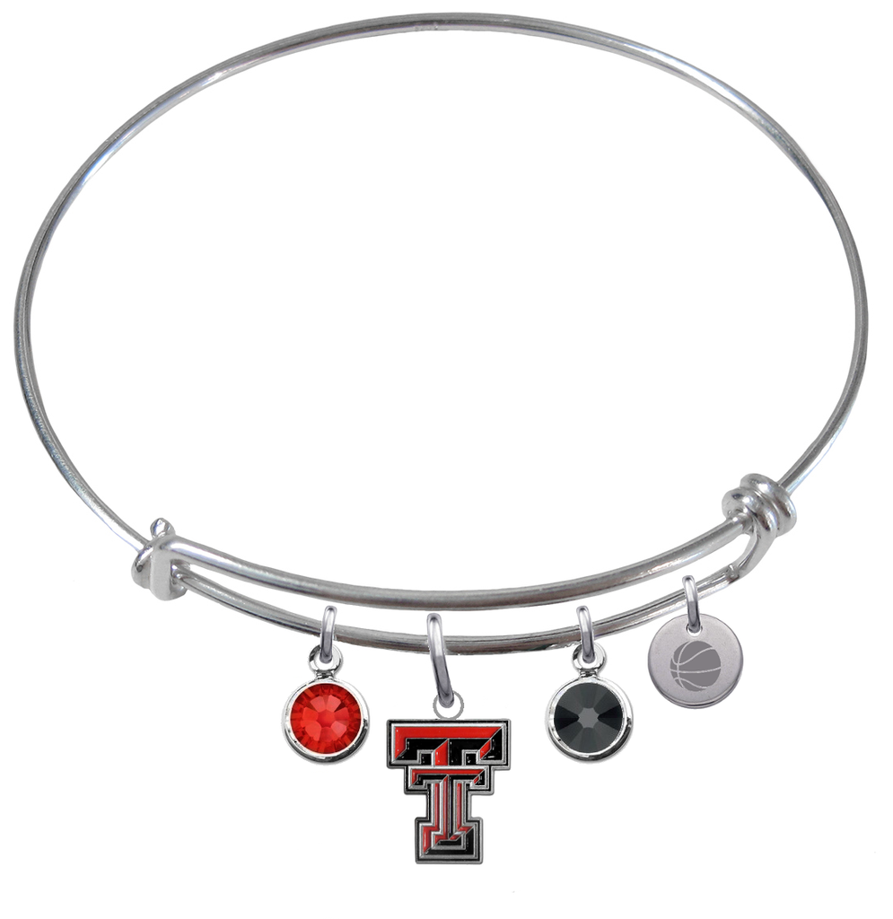 Texas Tech Red Raiders Basketball Expandable Wire Bangle Charm Bracelet