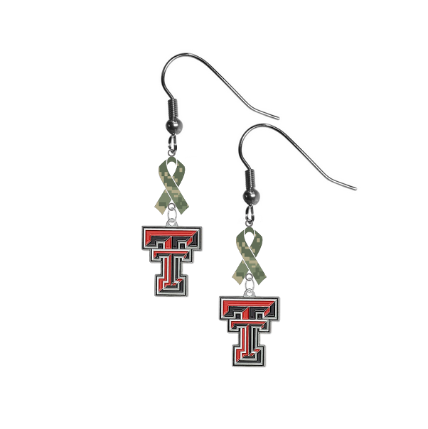 Texas Tech Red Raiders Salute to Service Camouflage Camo Ribbon Dangle Earrings