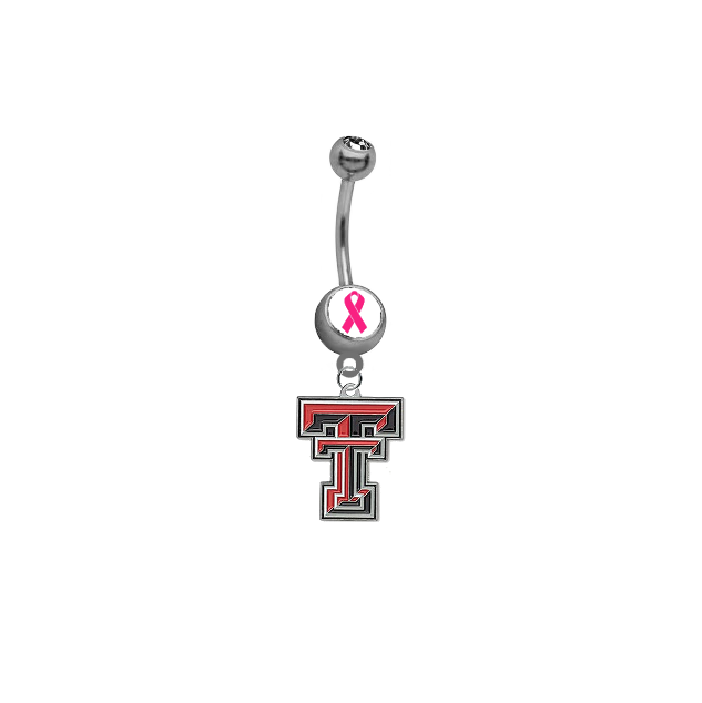 Texas Tech Red Raiders Breast Cancer Awareness Belly Button Navel Ring