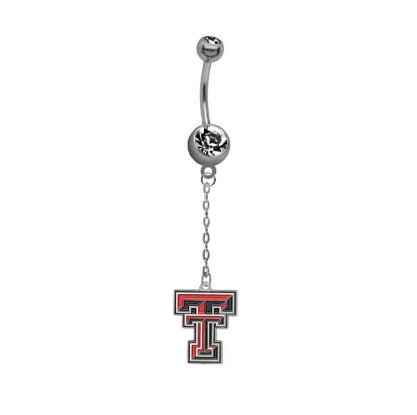 Texas Tech Red Raiders Dangle Chain Belly Button Navel Ring