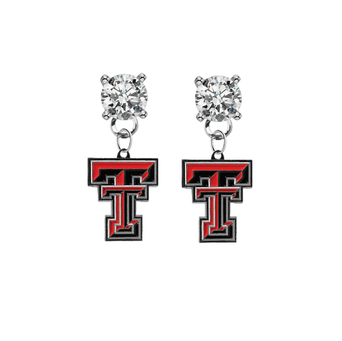 Texas Tech Red Raiders CLEAR Swarovski Crystal Stud Rhinestone Earrings