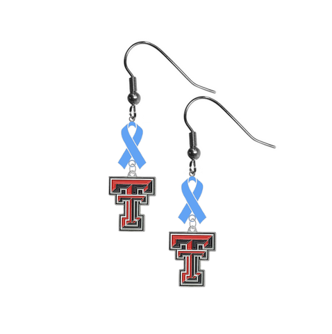 Texas Tech Red Raiders Prostate Cancer Awareness Light Blue Ribbon Dangle Earrings