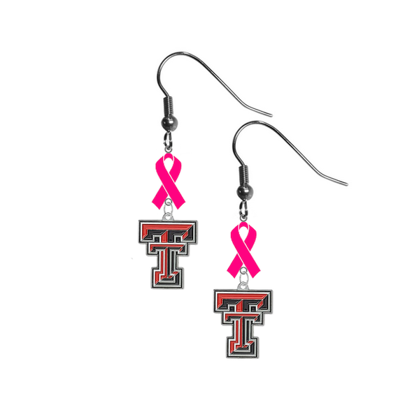 Texas Tech Red Raiders Breast Cancer Awareness Hot Pink Ribbon Dangle Earrings