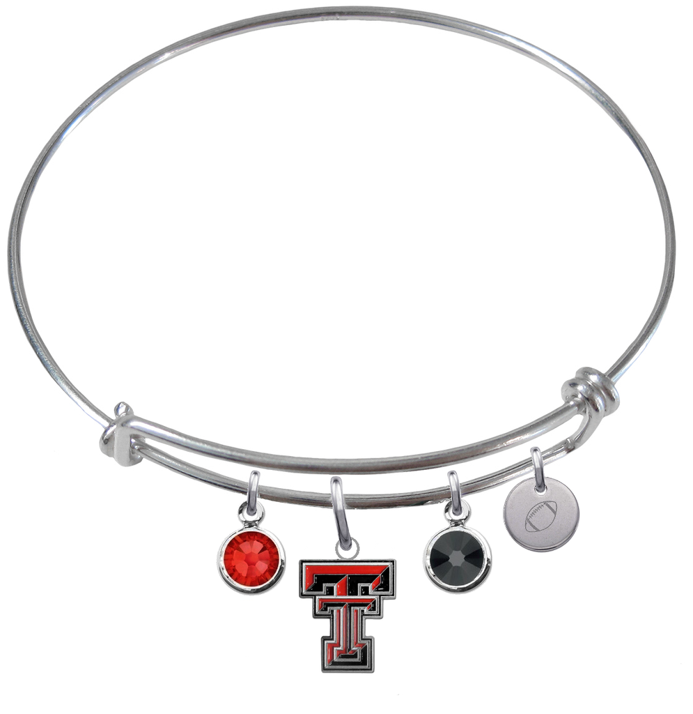 Texas Tech Red Raiders Football Expandable Wire Bangle Charm Bracelet