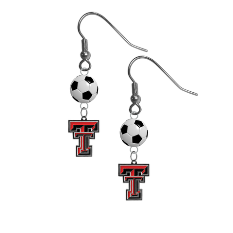 Texas Tech Red Raiders NCAA Soccer Dangle Earrings